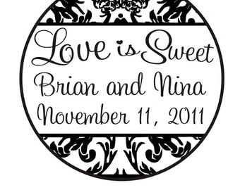 Love is sweet rubber stamp for wedding candy bar with a damask border -5664