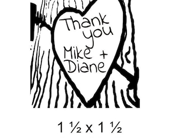 rustic tree with initials carved in a heart for wedding thank you tags --5526