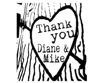 Thank you rubber stamp DIY Rustic tree tags customized stamps vintage typewriter font