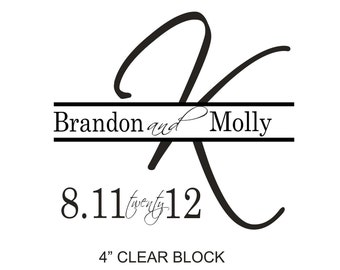 Monogram Custom Rubber Stamp with a combination of Script Fonts and Block Fonts