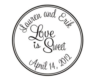 Rubber stamp that says Love is Sweet Wedding Candy Buffet personalized wedding favors