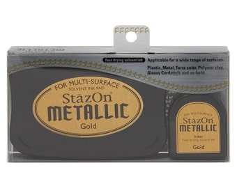 Gold ink pad, StazOn Metallic ink pad- Gold --9352