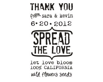 Let love bloom custom rubber stamp for personalized flower seed wedding favors for --5565