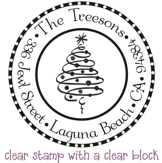 christmas tree return address stamp holiday by stampoutonline With holiday address stamps