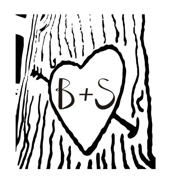 Items similar to heart carved on a tree with initials ...