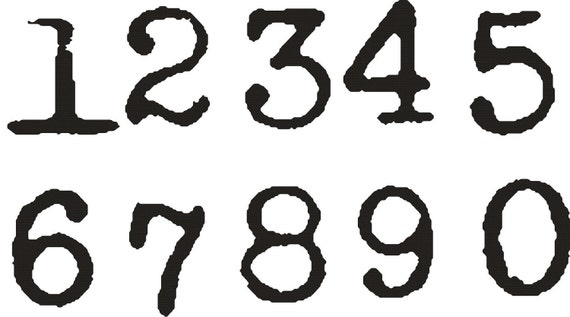 Items similar to old typewriter font numbers set 1 inch for Classic house number fonts