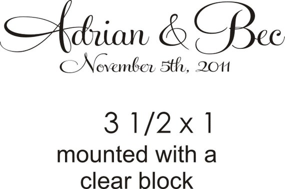 Script font name and date monogram rubber stamp perfect for a wedding logo