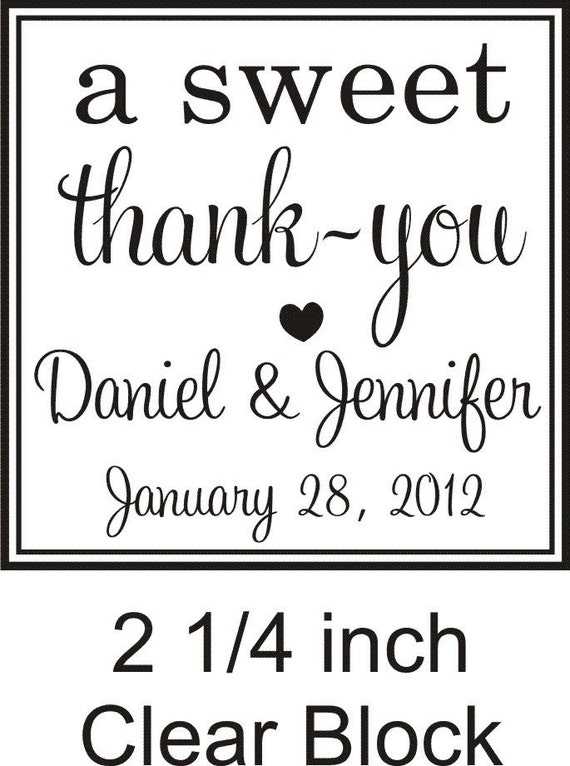 a sweet thank you rubber stamp great for candy bar favors