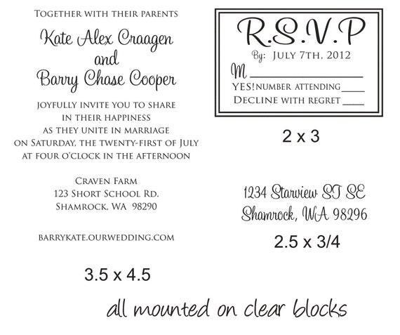 Wedding Invitation Rubber Stamps: DIY Wedding Invitation Rubber Stamp SET With By Stampoutonline