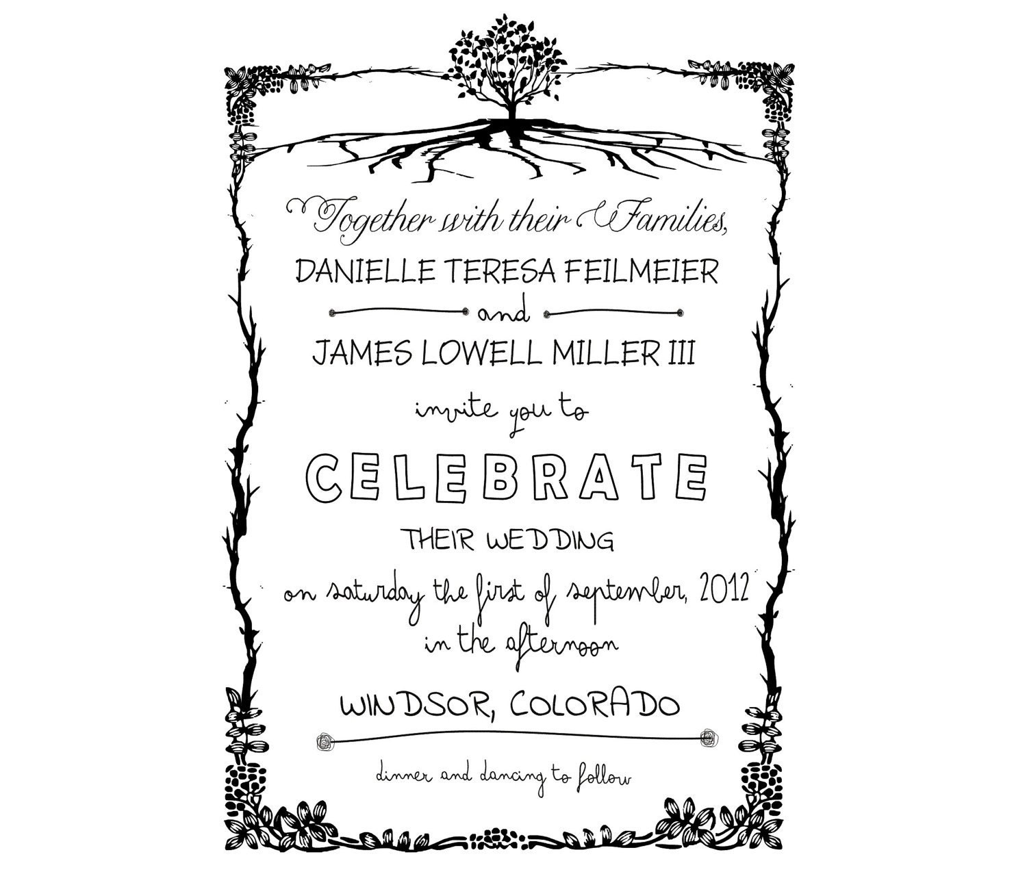Rustic DIY Wedding Invitation Rubber Stamp Set By Stampoutonline