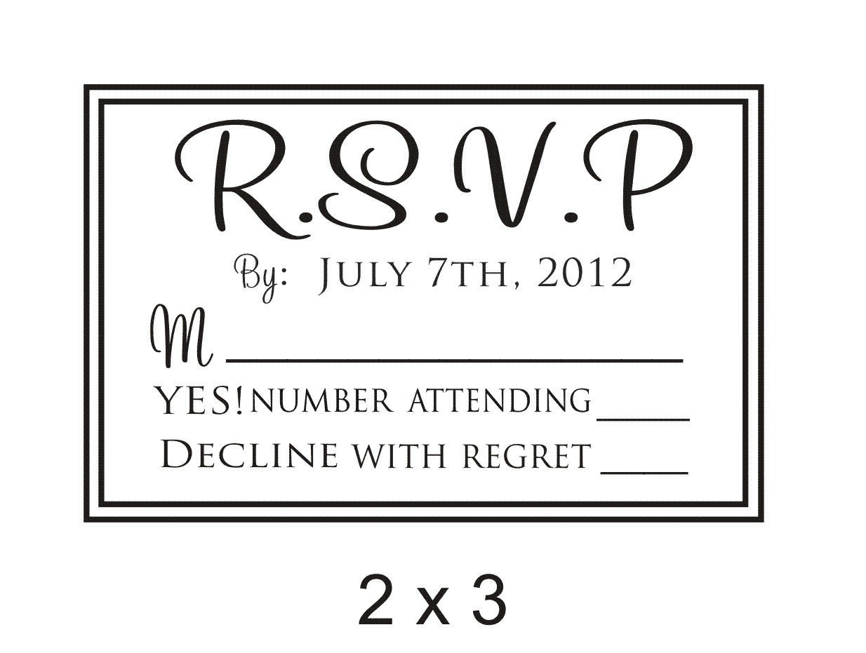 Custom rsvp rubber stamp to create response by stampoutonline for Wedding rsvp cards stamps