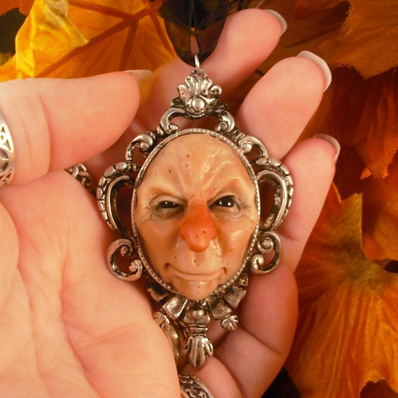 OOaK Face Pendant Autumnthing Goth Sculpture Fairy Oddfae