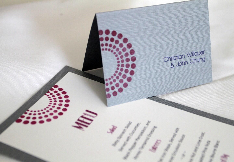 Modern Art Deco Escort Cards Hand Stamped Place Cards Wedding Reception Dec