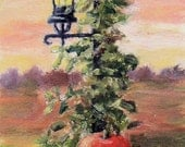 Fall Pumpkin Vine Lamp Sunset aceo Original Painting