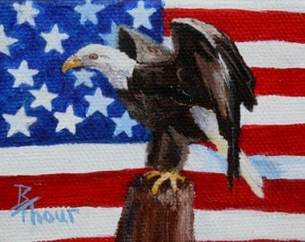 Eagle and USA Flag aceo 2.5x3.5 inch Painting