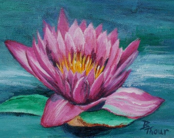 Pink Water Lily Original 6x8 Painting