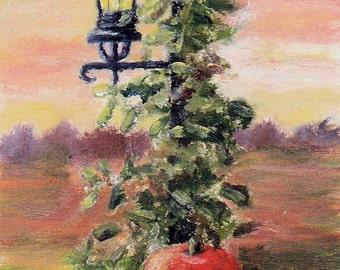 Fall Pumpkin Vine Lamp Sunset aceo Original Painting
