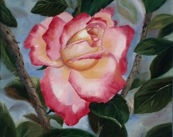 Rose Pink and Yellow Original 11x14 Oil Painting