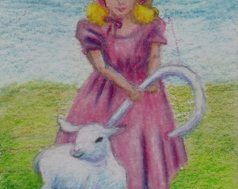 Girl and Lamb Nursery Rhyme aceo 2.3x3.5 inch Drawing
