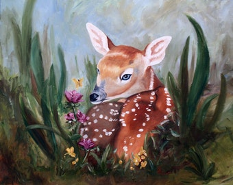 Fawn Innocence Original 16x20 Oil Painting