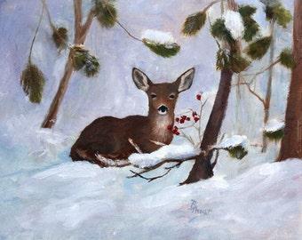 Deer In Snow Original 8x10 inch Oil Painting