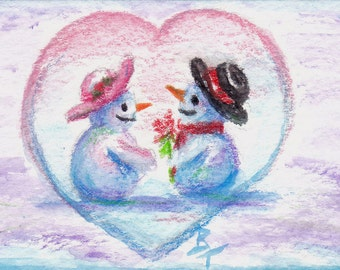 Snowman Love Original aceo Painting