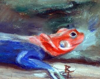 African Rainbow Lizard aceo 2.5x3.5 inch Original Painting