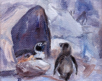 "Nesting Penguins Original Oil Painting 4""x4"""