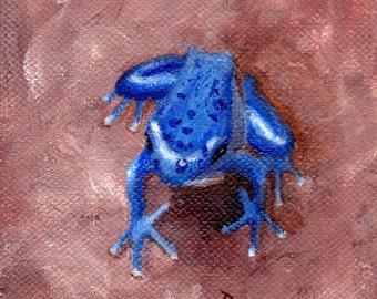 Blue Tree Frog Original 4x4 inch Acrylic Painting