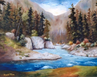 RUSHING WATERS Original Oil Painting