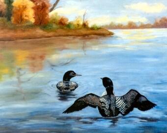 Loon Dance II Original 16x20 inch Oil Painting