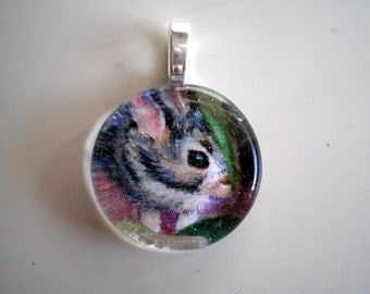 Baby Bunny Gem Wafer Pendant