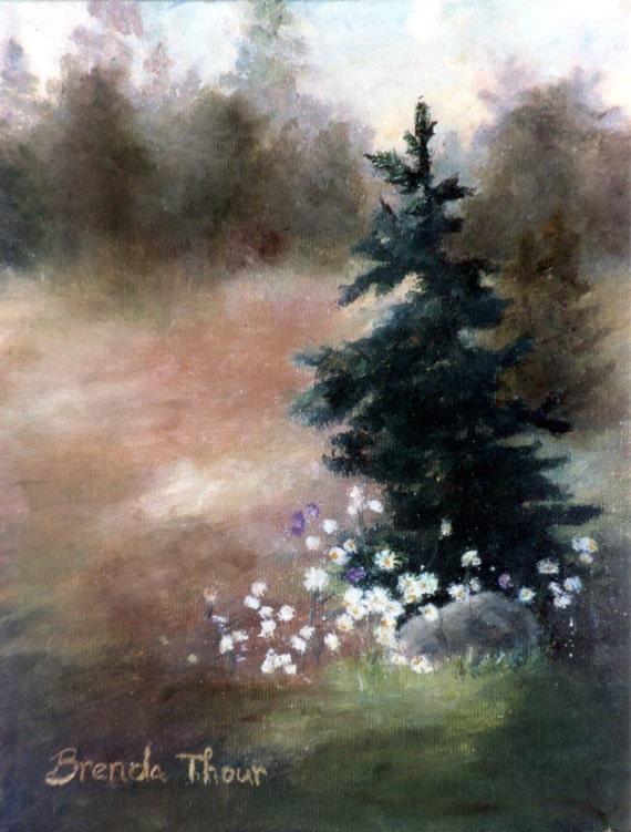 Pine Tree Landscape ORIGINAL 8x10 inc Oil Painting