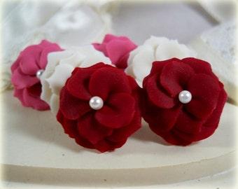 Flower Earrings Stud or Clip On