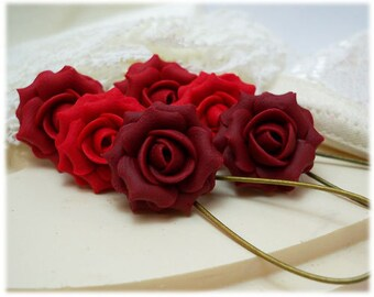 Red Rose Dangle Earrings - Red Rose Drop Earrings, Red Flower Earrings