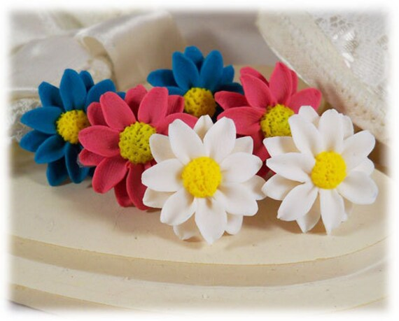 Daisy Earrings Studs - White Daisy Earrings, Pink Daisy, Earrings, Blue Daisy Earrings, Purple Daisy Studs, Daisy Jewelry, Daisy Clip Ons,