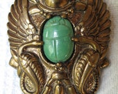 Vintage Egyptian Scarab Pin Brooch Facing Cobra Snakes Green Glass Brass Patina