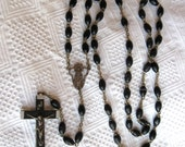 Vintage Rosary Bead Necklace Made Italy Wood Full Standing Mary connector Medal