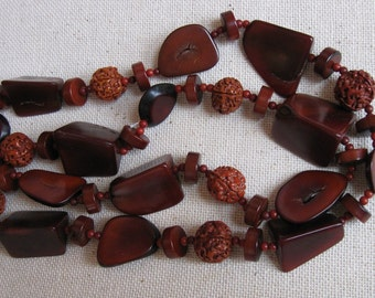 Vintage Organic Seeds and Exotic Wood Slices in Rich Mahogany Color Necklace