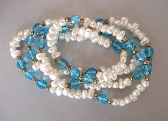 Ocean Dreaming Vintage Freshwater Pearls Turquoise and Gold Beads Necklace