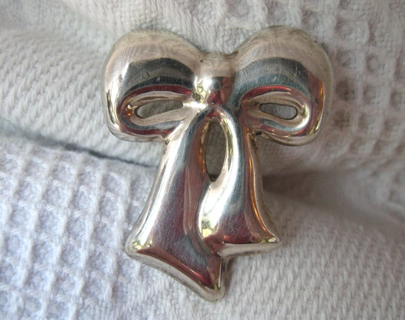 SALE Vintage Mexican Sterling Bow Pin Brooch Silver Signed 925 Mexico