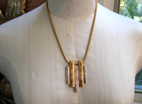 Vintage Mod Necklace Avon Modern Design Silver Gold Mixed Metal Colors