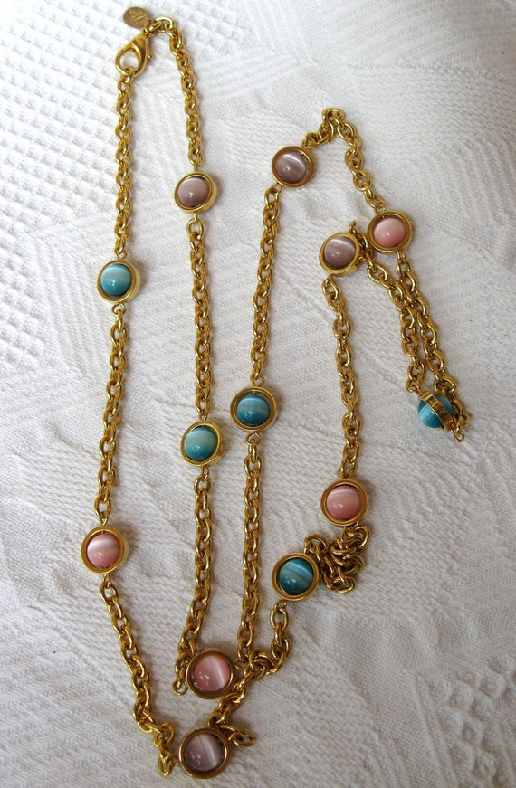 Joan Rivers Necklace Vintage Long Cats Eye in Pastel Colors Spin like Orbs
