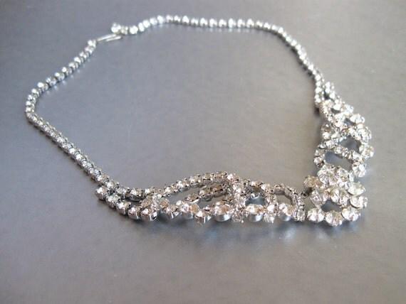 Vintage Rhinestone Necklace Faux Diamonds Bride Wedding Special Occasion Quality Piece