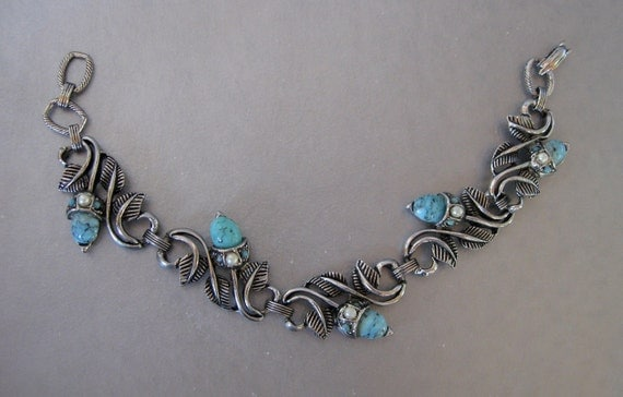 Vintage Acorns Bracelet Silver tone with Faux Turquoise and Pearls 1940s style