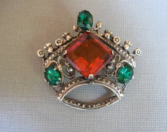 Sterling Crown Pin Faux Emeralds with Honey Amber Glass Coronation Celebration 1940s Vintage
