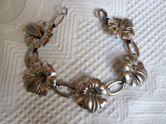 Vintage Sterling Silver Bracelet Designer Signed Orchid Flower Matte and Shiny