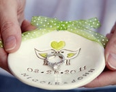 Wedding Ring Bearer Bowl Dish  Love birds  - Customized - Choose colors
