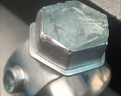 Ice Blue Aquamarine Ring in Sterling Silver. Raw Uncut Crystal Ring.  Gemstone Ring.