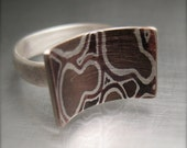 Mokume-gane ring,  Medium,  Contemplation Ring